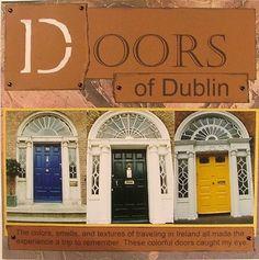 Scrapbooking Layouts ireland   Doors of Dublin Travel Scrapbook Page Idea