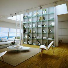 bibliotecas modernas con estantes de vidrio