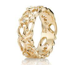 Pandora 14ct Gold and Diamond Lattice Band Ring 150114D