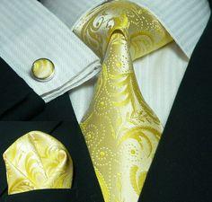 Yellow Paisley Necktie Set JPM121 – Toramon Necktie Company | Great Wedding Tie