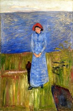 """Woman with Red Hat in the Fjord - Edvard Munch - 1891?  The Met in NYC writes that what separates this painting from Impressionism is its """"intensity of brushwork and stiff pose."""""""