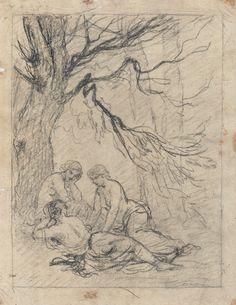 Johannot Tony attr. - Pencil - Trois jeunes-femmes demi-nues - 26x34cm