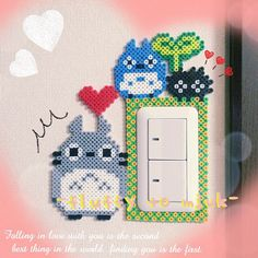 Totoro light switch frame perler beads by 247taka