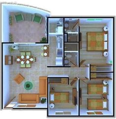 Plano de casa de tres habitaciones y un pequeño jardín