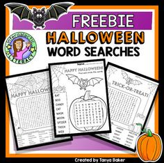 A fun FREEBIE for Halloween! Three word searches included, to suit multi-grades (K-7). Answer keys are provided. Students will enjoy hunting for words, and coloring the cute illustrations :-)
