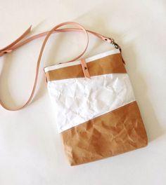 iPad Bag : Tyvek and Kraft paper iPad case/iPad bag/iPad paper bag/iPad sleeve with long leather detachable shoulder strap/crossbody bag
