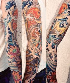 Japanese style tattoo sleeve of Koi climbing waterfall, by Aaron Bell (Slave to the Needle) - - - Pinning this because the artwork is just so damn beautiful. would never have the balls to do this though