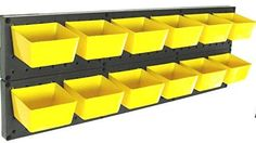 Pegboard Part Bins 12 Kit Hooks to Peg Board - Workbench - Red Yellow or Both (12 YELLOW)