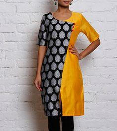 yellow & Black Chanderi & Cotton Silk Angrakha Kurta