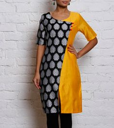 yellow & Black Chanderi & Cotton Silk Angrakha Kurta
