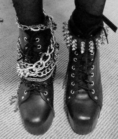 Spiked studded black punk rock metal boots Men's women's apparel fashion