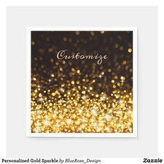 Personalized Gold Sparkle Napkins Christmas Card Holders, Christmas Cards, Ecru Color, Gold Sparkle, Party Items, New Years Party, Cocktail Napkins, Favor Boxes, Paper Napkins