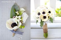 rosegolden flowers  anemone bouquet and boutonniere- love the gingham ribbon