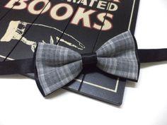 Light grey plaid bow tie ( with black layer ) w EveryJobCounts na DaWanda.com