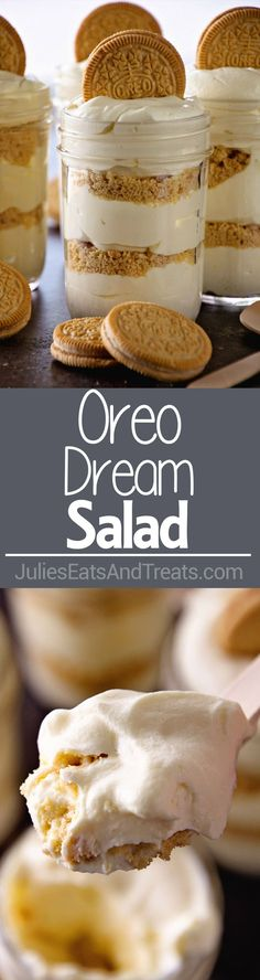 Golden Oreo Dream Salad ~ Layers of Delicious Crushed Oreos and Light Fluffy Pudding! Make it in a Mason Jar or Trifle Bowl! Perfect for Picnics!