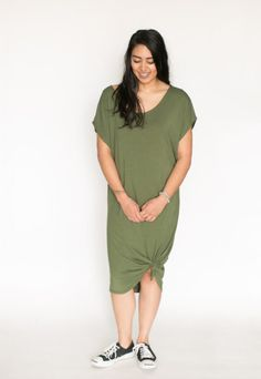 *pre-sale* Slouchy long dress – olive – ships in 2 to 4 weeks  $78.00    Welcome summer with this super comfortable slouchy fitting mid length dress, wear this long or tied in a cute rosette at the bottom hem to create a different look. You will be so comfy and cool this summer Our brand new belts pair perfectly with this dress as well! Made out of bamboo/cotton jersey.