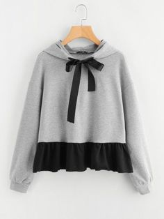 To find out about the Contrast Ruffle Hem Heather Knit Hoodie at SHEIN, part of our latest Sweatshirts ready to shop online today! 30 Outfits, Cute Outfits, Fashion Outfits, Fashion Styles, Fashion Fashion, Fashion Ideas, Vintage Fashion, Fashion Design, Fashion Trends