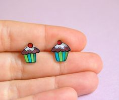 Earrings  Cupcake Studs by lacravatteduchien on Etsy, €9.00