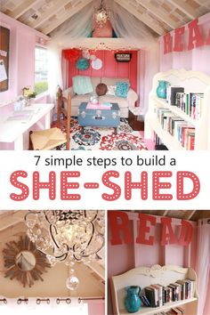 LOVE this!!  Kloter Farms didn't want to miss out on this growing trend of She-Sheds, so we made our very own! If it sounds extravagent, unrealistic or out of budget range, throw that idea out the window! Here's 7 easy and affordable steps of how you can design your own.