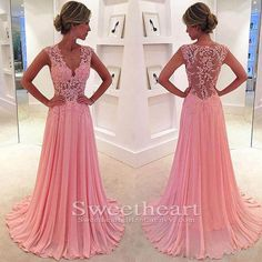 Unique pink chiffon lace long prom dress 2016 for teens, pink long evening dress