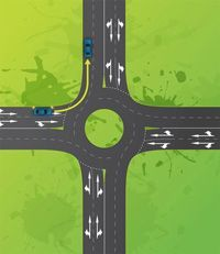 A car approaches and then turns left at a roundabout Driving School, Driving Test, Road Rules, Driving Instructor, Transportation, Car, Roads, Education, Automobile