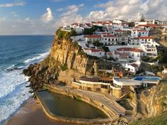 Azenhas do mar is a small coastal village just outside Sintra, Portugal Sintra Portugal, Spain And Portugal, Beautiful World, Beautiful Places, Amazing Places, Wonderful Places, Places Around The World, Around The Worlds, Azenhas Do Mar