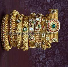 Jewellery Designs: Latest Antique Bangles Gallery