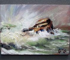Seascape oil painting Gail Grant California waves light sky impressionist rock #Impressionism