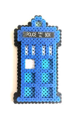 Doctor Who Inspired TARDIS Perler Sprite by GamingBeads on Etsy