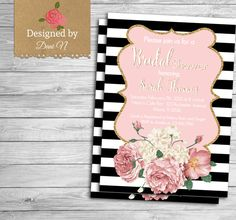 Bridal Shower party invitation, black and pink, bridal invite, floral, roses, shabby and elegant pink party printable