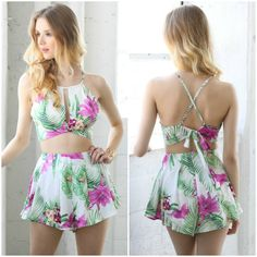 Shop this sexy tropical print tie back crop top and shorts two piece set from Social Butterfly House. The perfect outfit for summer, traveling, vacation, the beach, parties and the weekend. Also a music festival favorite - Coachella, SXSW, Stagecoach, EDC, Bonaroo, etc.