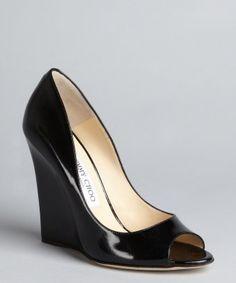 Jimmy Choo : black patent leather 'Biel' peep toe wedge pumps : style # 320111901