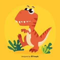 Flat t-rex background , Princess Illustration, Cute Illustration, Jungle Theme Birthday, Vintage Typography, Vintage Logos, Cute Dinosaur, Retro Logos, Vector Photo, Vector Pattern