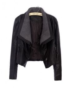 Black Cropped PU Motorcycle Jackets with Knitted Lapel