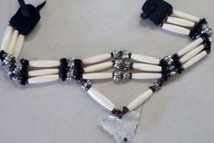 Native American Indian Chokers | Native American white bone choker with a crystal butterfly | RitaCann ...
