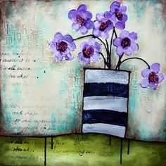 """purple posies"" (number 5 in the series) 20 x 20"" gallery canvas mixed-media acrylic"