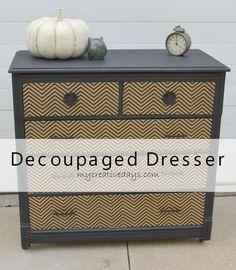 Decoupaged Dresser {Country Chic Paint} mycreativedays.com #furnituremakeover #paintedfurniture