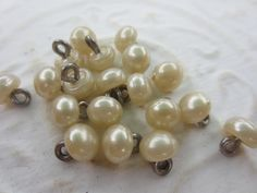 Vintage Buttons - romantic matching off white  faux pearls,  heavy weight, metal shanks, lot of 19, (lot apr 54b) by pillowtalkswf on Etsy