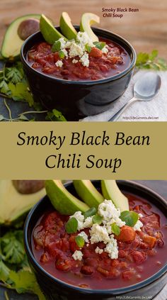 Slow Cooker Smoky Black Bean Chili Soup ~ Loaded with awesome flavors ... and a brilliant idea of using blue cheese in the garnish! Total yum! ~ from Life Currents