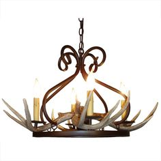 Antler and Wrought Iron Chandelier