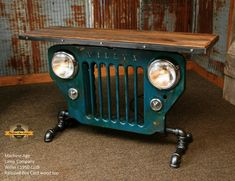 Antique Willys Jeep Grille and antique railroad boxcar wood top Car Part Furniture, Automotive Furniture, Automotive Decor, Furniture Stores, Furniture Online, Furniture Design, Furniture Dolly, Furniture Movers, Furniture Ideas