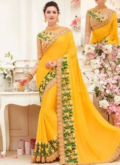 Yellow Embroidery Work Georgette Dhupion Designer Fancy Party Wear Sarees http://www.angelnx.com/Sarees