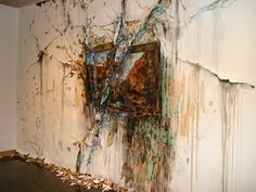"Valerie Hegarty,"" Autumn on the Wissahickon with Tree"", 2011. Paper, Tyvek, paint, glue, gel mediums, wood, foamcore, epoxy, wire, tape, sand, plastic, artificial leaves."
