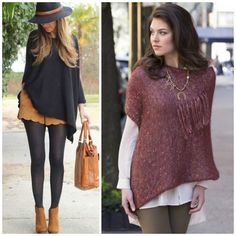Street Style: Ponchos are the perfect piece for chic layering! Throw over a dress or shorts and tights for a versatile fall look. Pattern (right) is the Gracie Square Fringed Poncho in Stacy Charles Fine Yarn's ADELE. (Inspiration photo, left, from gurl. com)