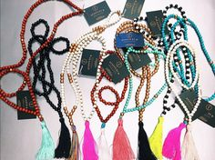 Tassel necklaces from BeadedByW! #tassel #necklace #beadedbyw #colorful