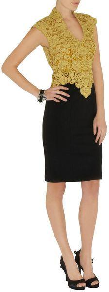 Karen Millen Heavy Cotton Lace Dress in Yellow | Lyst