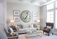 Biltmore Heights Project: Before and After Living Room Remodel Before and After - Diy Home Decor Crafts Living Room Clocks, Home Living Room, Living Room Decor, Interior Design Living Room Warm, Room Wall Decor, Wall Clock Decor, Living Room Remodel, Formal Living Rooms, Home Remodeling