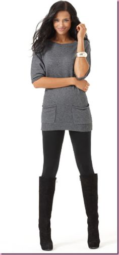 sweater tunic with tights and boots