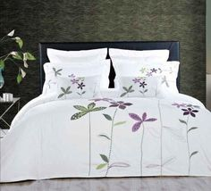 Embroidered Floral Duvet Cover Set