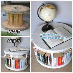 Comment recycler une vieille bobine en bois en meuble sympa ?